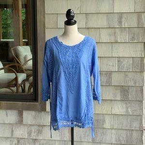 Denim Semisheer  Lace Tunic